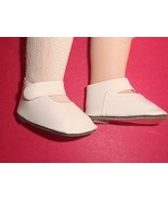 """BONE FAUX LEATHER SIDE SNAP DOLL SHOES 2 1/2"""" long x 1 1/4wide NEW - $5.45"""