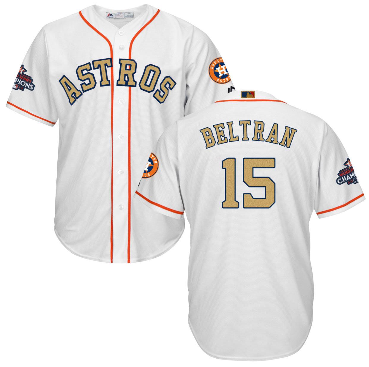 Houston Astros Cool Base MLB Custom White Gold Program Jersey