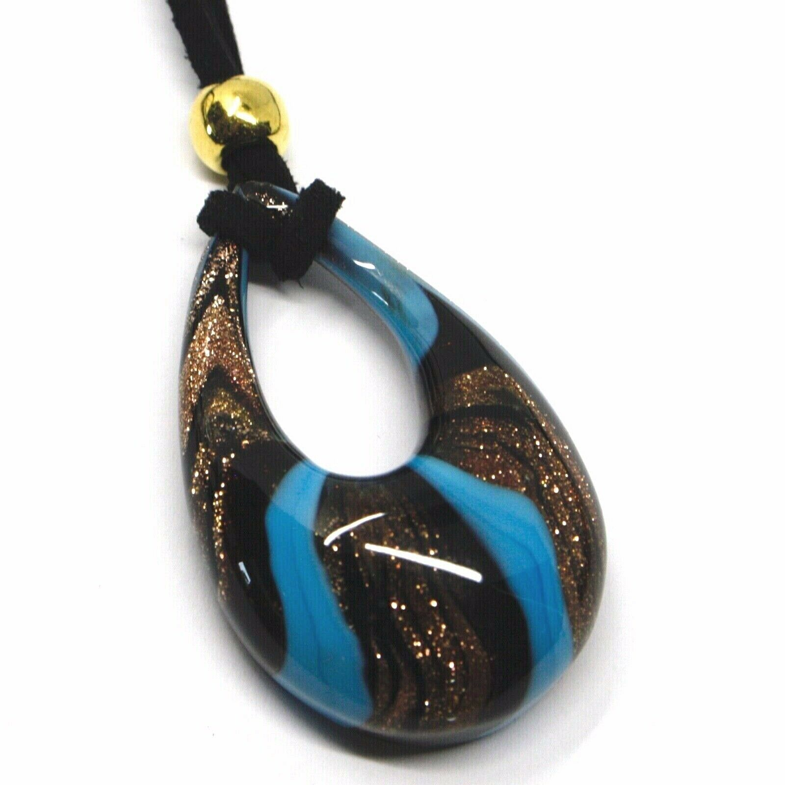 """BIG DROP PENDANT MURANO GLASS, BLACK BLUE AND GLITTER 4.5cm 1.8"""" MADE IN ITALY"""