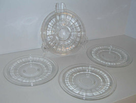 """4 Hocking Banded Ring 6.25"""" Saucers Bread Plates Clear Crystal Depressio... - $9.50"""
