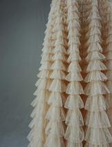 Women High Waist Tiered Tulle Skirt Polka Dot Champagne Maxi Tutu Skirt US0-US24 image 5
