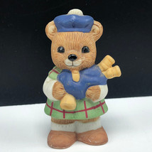 HOMCO TEDDY BEAR FIGURINE vintage 1406 porcelain cub bag pipes scotland statue - $17.82