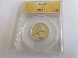 1964 , Washington Quarter , ANACS , AU 50 - $14.85