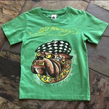 Boys 5 6 Ed Hardy Bulldog Tattoo Green Short Sleeve Shirt LN - $9.49