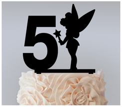 5th Birthday Anniversary Cake topper,Cupcake topper,silhouette tinkerbell 11 pcs - $20.00
