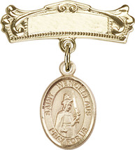 14K Gold Baby Badge with St. Wenceslaus Charm Pin 7/8 X 3/4 inch - $533.22