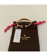 NEW Kate Spade Bow Bangle Bracelet GOLD WITH SPADE AND STONE  - $37.82