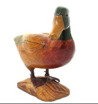 RUSTIC Hand Carve Wood Mallard DUCK Sculpture w/Glass Eyes and Wood Base... - $39.11