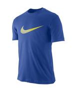 NEW Men's Nike T-Shirt Swoosh Blue Dri-fit Cotton Tee 708079 480 - $16.11