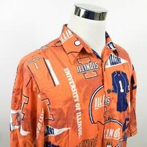 Reyn Spooner Mens Large University of Illinois Sports Hawaiian Shirt Ora... - $59.95