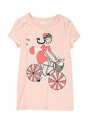 Primary image for Crazy 8 Girls Tee Shirt Sz S 5 6 Graphic Bicyle Shine Cat  Cotton Short Sleeve