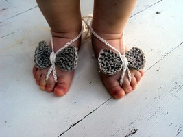 100% linen Baby Bow Barefoot, Knitted/Crochet Baby Barefoot Sandals, Whi... - $5.50