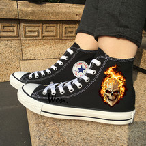 Flaming Skull Chuck Sneakers Men Converse All Star Black Canvas Shoes Hi... - $119.00
