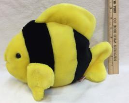 """TY Beanie Buddies Fish Yellow & Black 1998 Soft Plush Stuffed Animal Soft 8"""" - $6.92"""