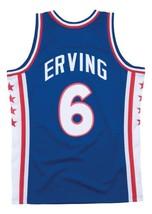 Julius Erving DrJ #6 Philadelphia Basketball Jersey Sewn Blue Any Size image 5