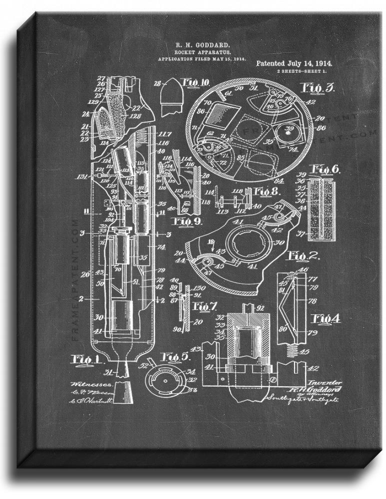 Primary image for Goddard Rocket Apparatus Patent Print Chalkboard on Canvas