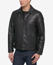 New Mens Tommy Hilfiger Dark Brown Faux Leather Bomber Jacket L - $94.04