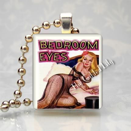 VINTAGE PINUP GIRL - BEDROOM EYES - Scrabble Pendant