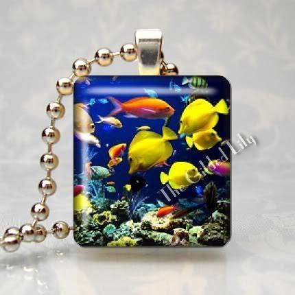 MARINE FISH - Altered Art Scrabble Tile Pendant Charm
