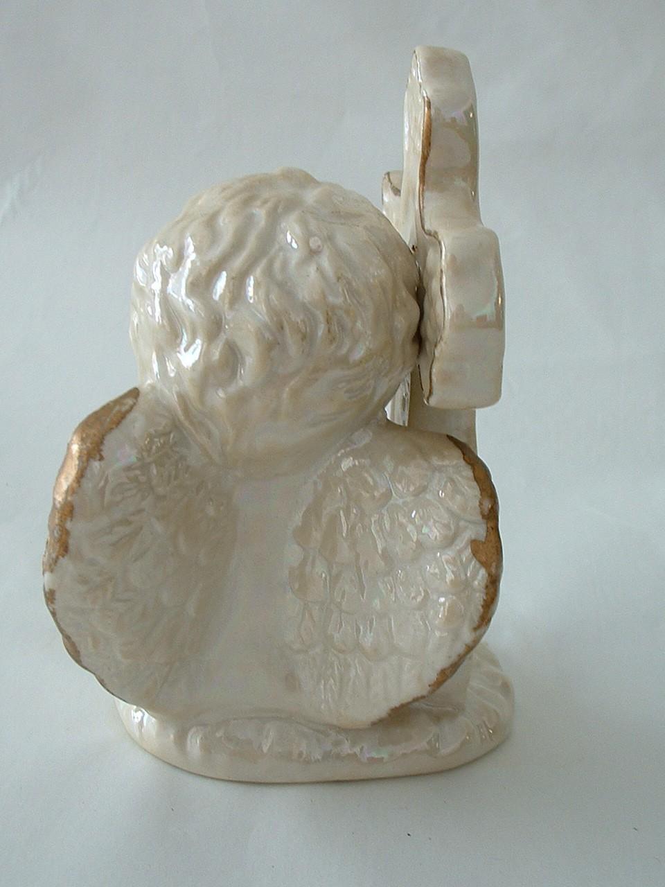 Vintage Porcelain Angel Child with Cross