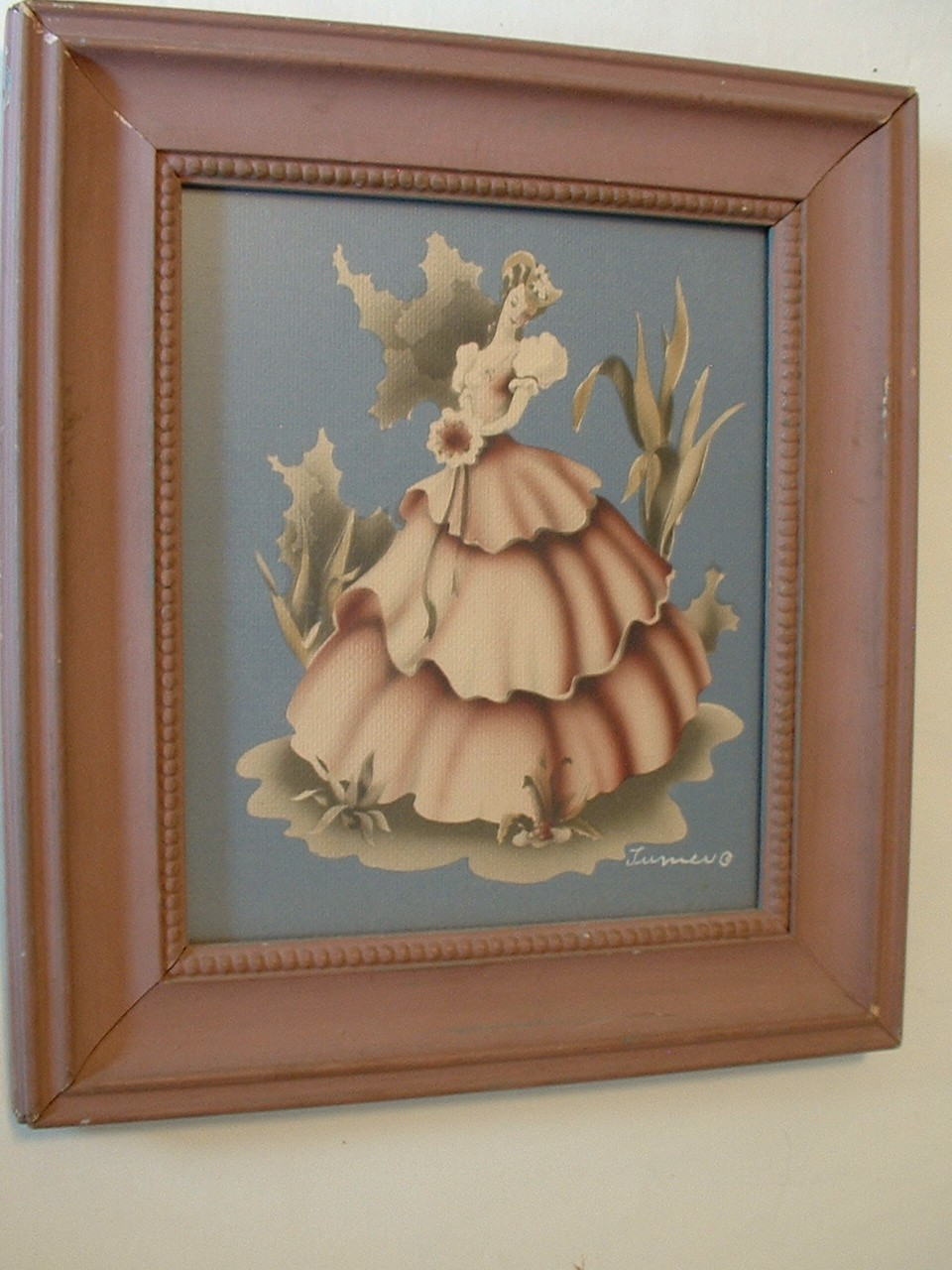 Vintage Framed Turner Print of Victorian Lady