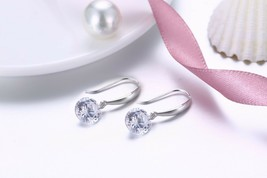 Graphic Crystals made with Swarovski Drop Dangle Earrings 925 Sterling S... - $7.83