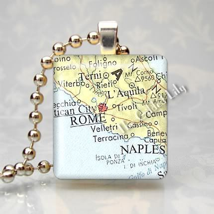 ITALY ROME AREA MAP Altered Art Scrabble Pendant Charm