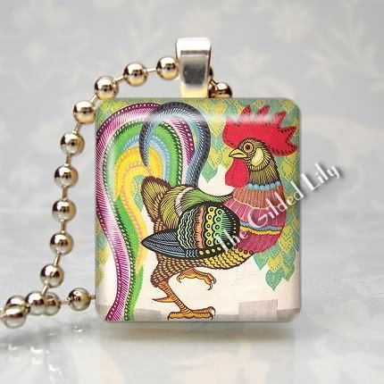 ROOSTER - COLORFUL BIRD - Scrabble Tile Pendant Charm