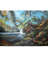 Large Vintage Oil on Canvas Unframed Painting Landscape Mountains  and W... - $150.00