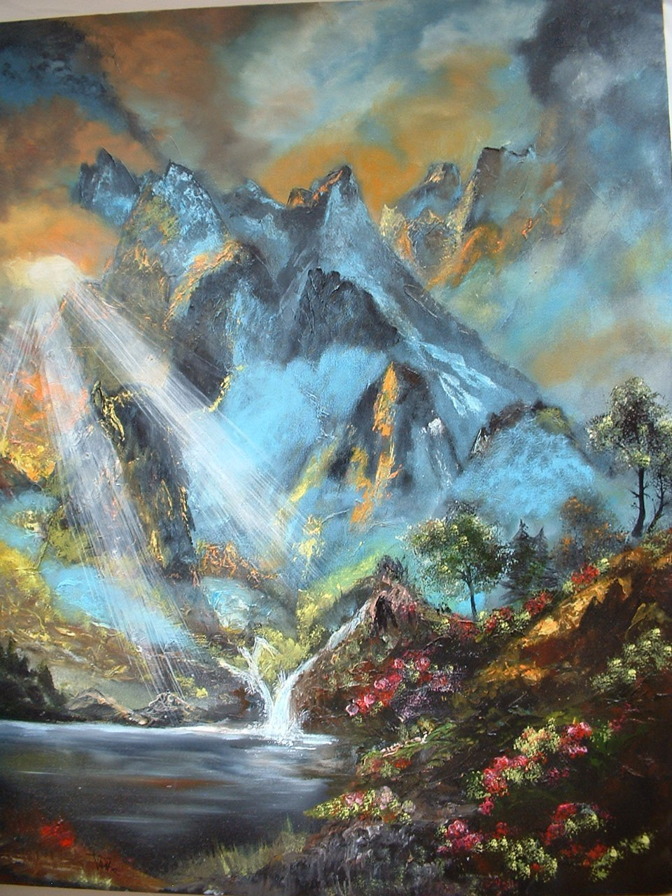 Large Vintage Oil on Canvas Unframed Painting Landscape Mountains  and Water