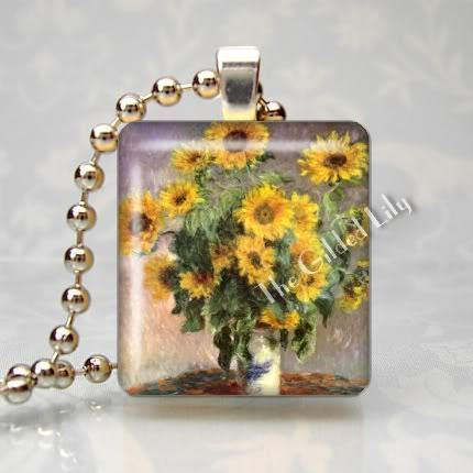 MONET - SUNFLOWERS - Altered Art Scrabble Pendant Charm