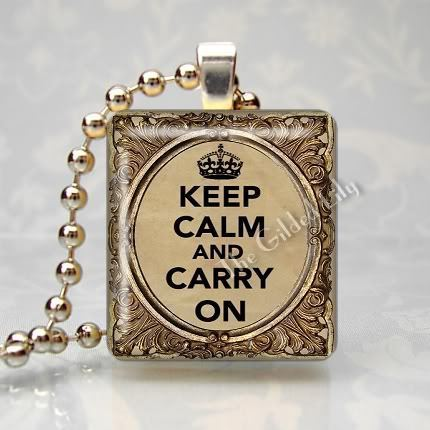 KEEP CALM AND CARRY ON - Ornate Frame Scrabble Pendant