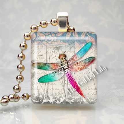 DRAGONFLY - INSECT - Scrabble Tile Pendant Charm