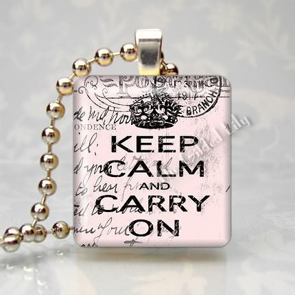 KEEP CALM AND CARRY ON - Shabby Pink - Scrabble Pendant