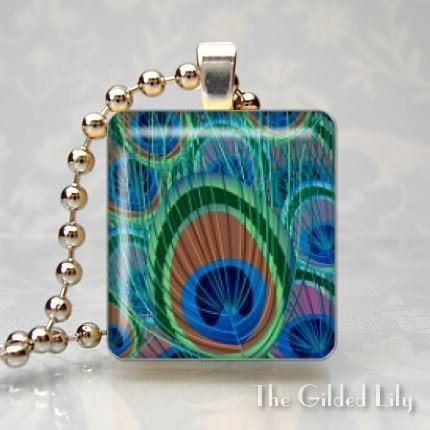 PEACOCK FEATHER Altered Art Scrabble Tile Pendant Charm