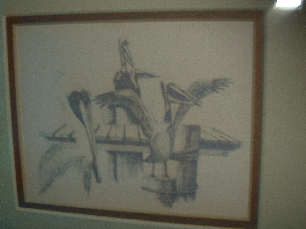Vintage Signed by Artist Santon  Key West Pelicans