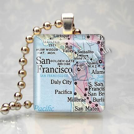 CALIFORNIA - SAN FRANCISCO MAP Scrabble Pendant Charm