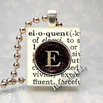 ELOQUENT - DICTIONARY WORD DEFINITION Scrabble Pendant