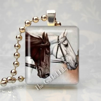 HORSES - EQUINE Altered Art Scrabble Tile Pendant Charm