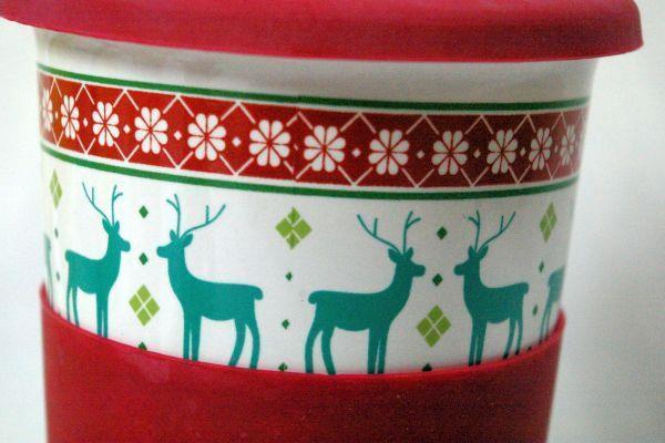 California Pantry Green Reindeer Christmas Travel Mug With Red Silicone Lid/Grip image 2