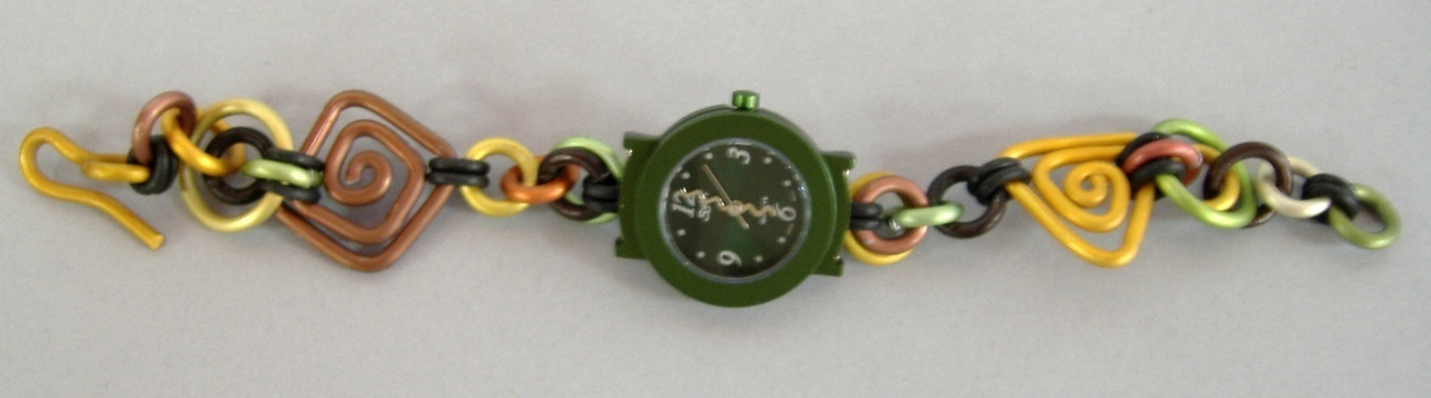 Forest Green Watch Round Faced Handcrafted Aluminum Band Wristwatch Brown Gold