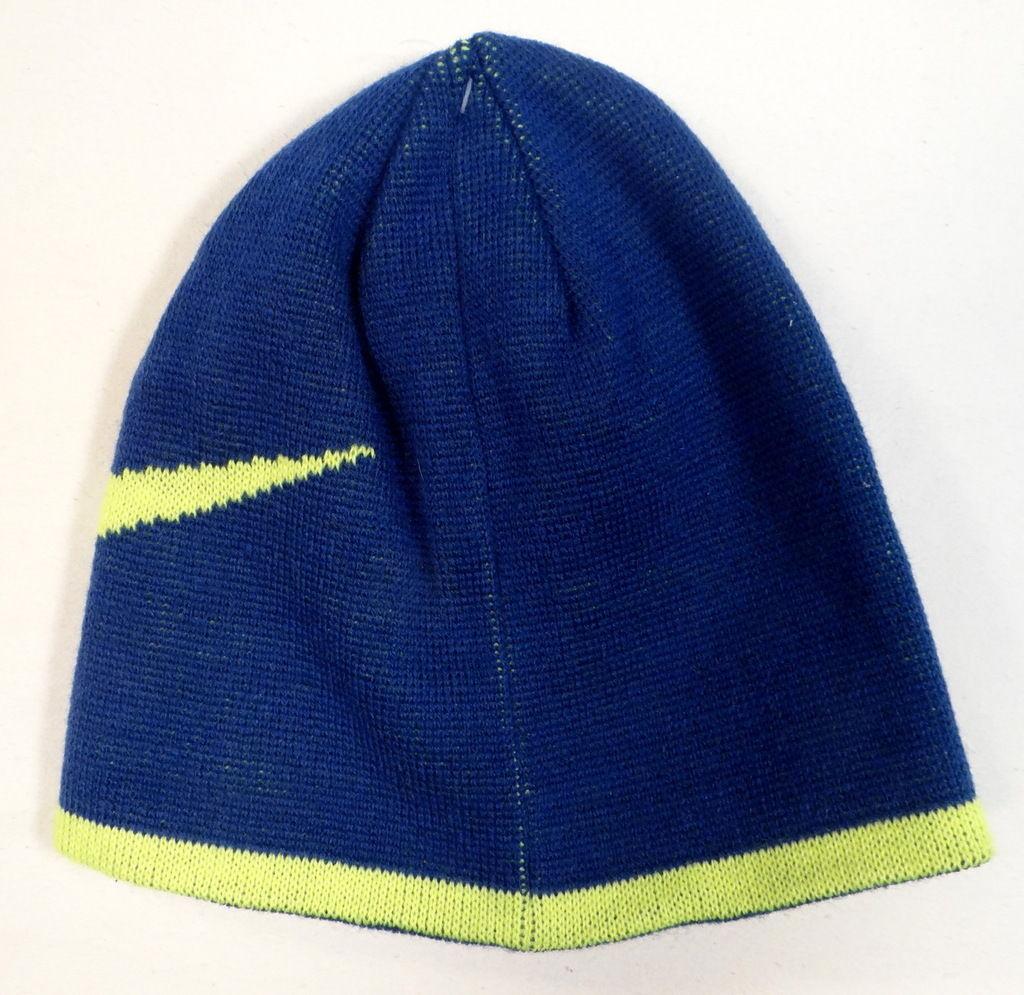 d8e11273913 Nike Swoosh Reversible Blue   Neon Knit Beanie Skull Cap Youth Boys 8-20 NWT