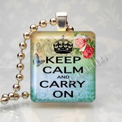 KEEP CALM AND CARRY ON - ROSES - Scrabble Pendant Charm