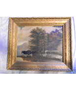 Vintage Cows on Canvas Pastoral Painting - $1,200.00