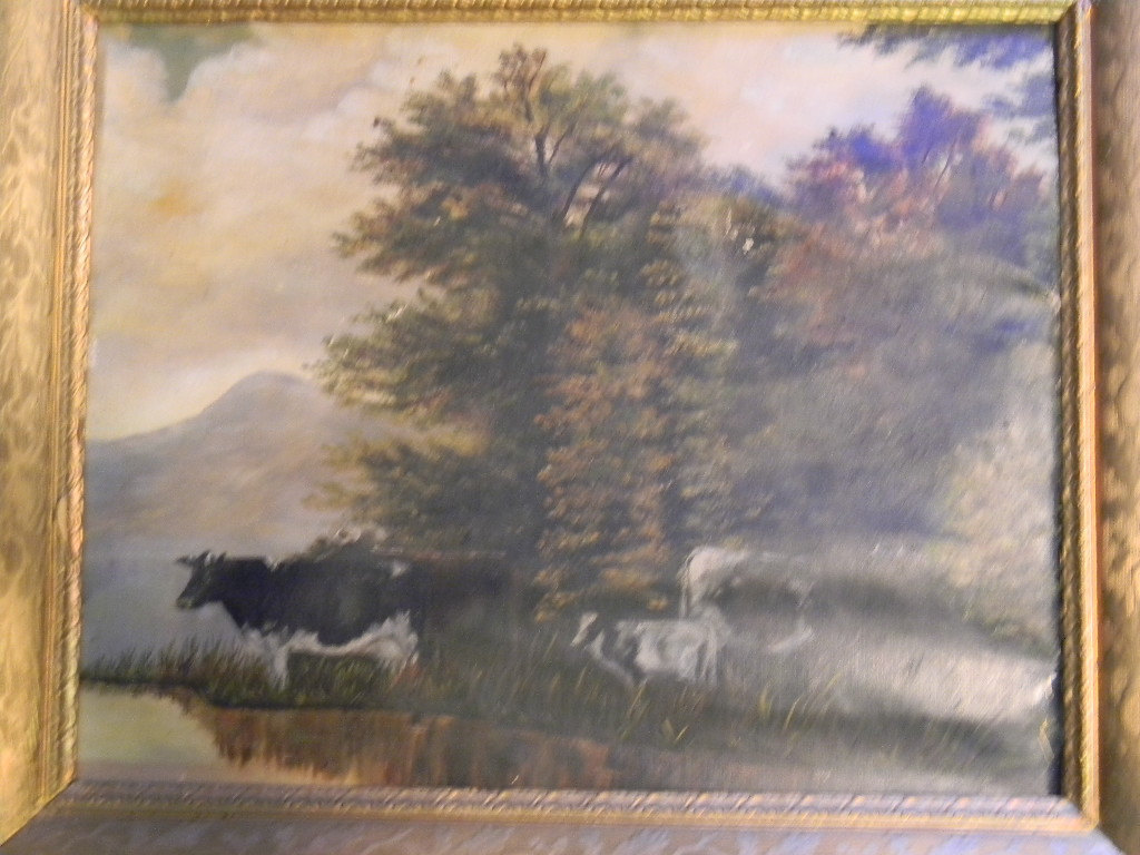 Vintage Cows on Canvas Pastoral Painting