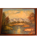 Vintage Oil Painting Landscape Mountain Lake Scene by K Judy - $125.00