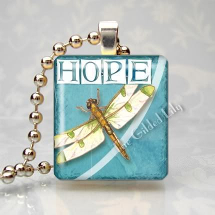 HOPE INSPIRATIONAL WORD - DRAGONFLY - Scrabble Pendant