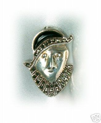 Vintage Sterling & Marcasite Deco Lady Pin