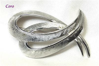 Primary image for Vintage Coro Textured Silvertone Paisley Brooch