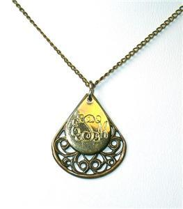 "Vintage Initial Pendant ""EMS"" w/Filagree Backing"